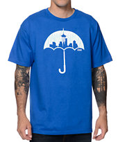 Casual Industrees Umbrella Rain Camo Royal Blue Tee Shirt