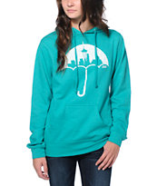 Casual Industrees Umbrella Rain Teal Pullover Hoodie
