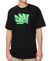 Casual Industrees WA Brah Green Leaf Black Tee Shirt