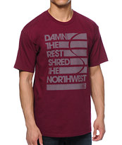 Casual Industrees WA Damn The Rest Burgundy Tee Shirt