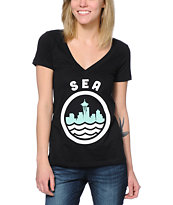Casual Industrees Women's Sea Black V-Neck Tee Shirt