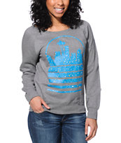Casual Industrees Women's Seattle Sky Speckle Grey Crew Neck Sweatshirt