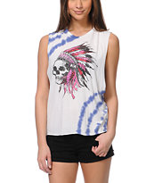 Cea+Jae Headdress Tie Dye Muscle Tee Shirt