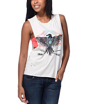 Cea+Jae Native Bird Natural White Muscle Tee Shirt