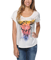 Cea+Jae Native Skull Natural White Scoop Neck Tee Shirt