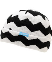 Celtek Girls Daisy White & Black Chevron Fold Beanie