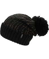 Celtek Girls Zen Black Lurex Pom Fold Beanie
