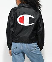 Champion Crop Black Coaches Jacket