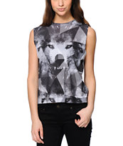 Civil Women's Geo Wolf Grey Muscle Tee Shirt