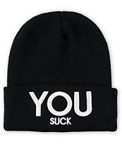 Civil Women's You Suck Black Fold Beanie