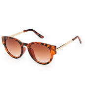 Classic Oversize Tortoise Shell & Gold Arm Sunglasses