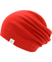 Coal Flat Red Slouch Beanie