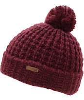 Coal Girls Kate Burgundy Pom Fold Beanie