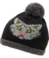 Coal Kitty Black Pom Beanie
