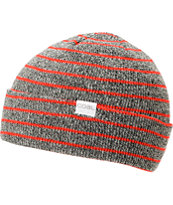 Coal Nicks Grey & Red Stripe Fold Beanie