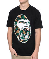 Concrete Jungle Gorilla Teeth Camo Print Black Tee Shirt
