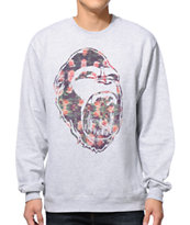 Concrete Jungle Gorilla Teeth Floral Grey Crew Neck Sweatshirt