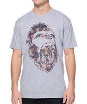 Concrete Jungle Gorilla Teeth Floral Print Grey Tee Shirt