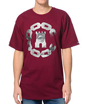 Crooks & Castles Currency Chain Burgundy Tee Shirt