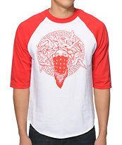 Crooks & Castles Primo Raglan White & Red Baseball Tee Shirt