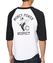 Crooks & Castles X Monopoly Money Power Black & White Baseball Tee Shirt