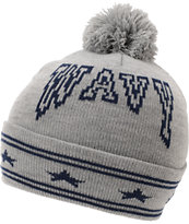 Crooks And Castles Wavy Grey Pom Beanie