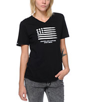 Crooks and Castles Ammo Flag Black V-Neck Tee Shirt