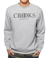 Crooks and Castles Ballin Mane Grey Crew Neck Sweatshirt