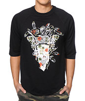 Crooks and Castles Bandito Endless Black Baseball Tee Shirt
