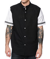 Crooks and Castles Big League Black Varsity Button Up Shirt