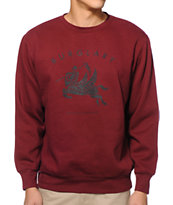 Crooks and Castles Burglary Burgundy Crew Neck Sweatshirt