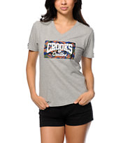 Crooks and Castles Camo Box Core Logo V-Neck Tee Shirt