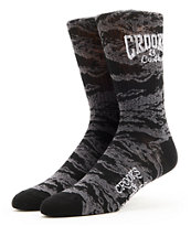 Crooks and Castles Core Logo Girls Tiger Camo Crew Socks