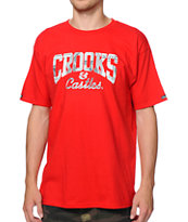 Crooks and Castles Currency Core Logo Red Tee Shirt