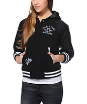 Crooks and Castles Girls Crooks Black Hooded Varsity Jacket