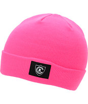 Crooks and Castles Girls Emblem Hot Pink Fold Beanie