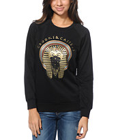 Crooks and Castles Girls Pharaoh Black Crew Neck Sweatshirt