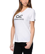 Crooks and Castles Girls Regal White V-Neck Tee Shirt