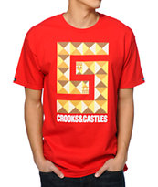 Crooks and Castles Greco Pyramid Red Tee Shirt