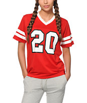 Crooks and Castles Lady Crooks Red Mesh Football Jersey