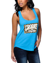 Crooks and Castles Leopard Box Core Logo Blue Racerback Tank Top