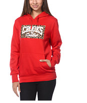 Crooks and Castles Leopard Box Core Logo Red Pullover Hoodie