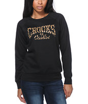 Crooks and Castles Leopard Core Logo Black Crew Neck Sweatshirt