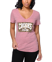 Crooks and Castles Leopard Core Logo Pink V-Neck Tee Shirt