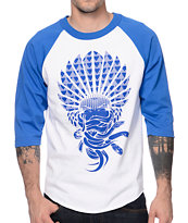 Crooks and Castles Mayan Medusa White & Blue Baseball Tee Shirt