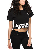 Crooks and Castles Medusa Tag Black Crop T-Shirt
