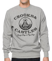 Crooks and Castles Payday Grey Crew Neck Sweatshirt