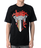 Crooks and Castles Perforated Medusa Black Tee Shirt