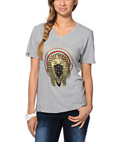 Crooks and Castles Pharaoh Heather Grey V-Neck Tee Shirt