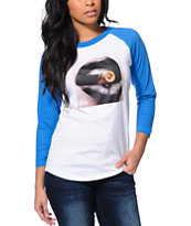Crooks and Castles Ruthless Blue & White Baseball Tee Shirt